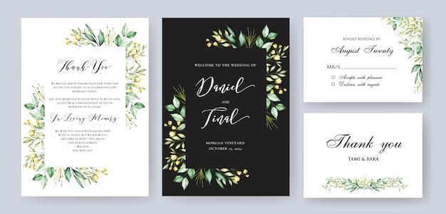 Modelo de cartão elegante casamento e convite floral Vetor Premium