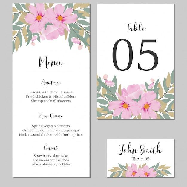 Modelo de cartão estacionário floral aquarela casamento Vetor Premium