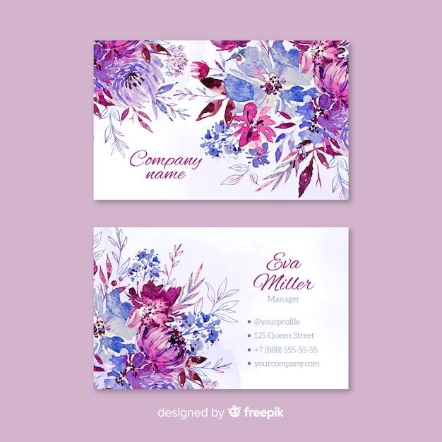 Modelo de cartão floral aquarela Vetor grátis