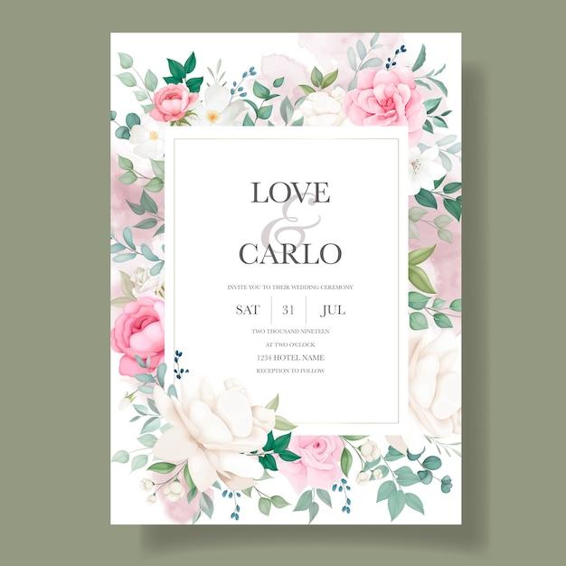 Modelo de cartão floral para convite de casamento romântico Vetor grátis