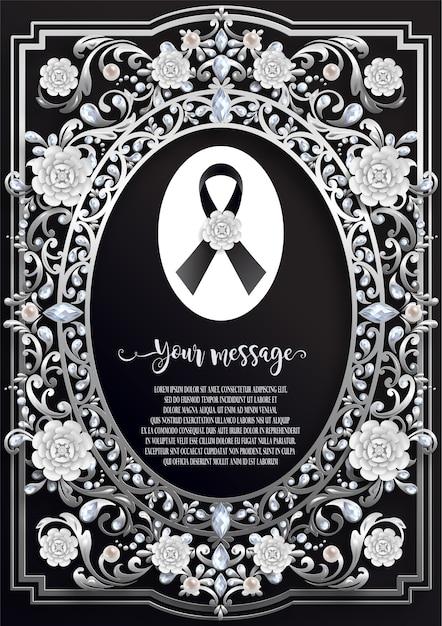 Modelo de cartão fúnebre com fita preta e flores brancas Vetor Premium