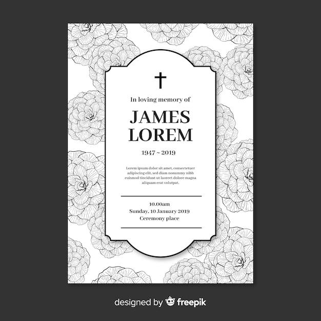 Modelo de cartão fúnebre Vetor grátis