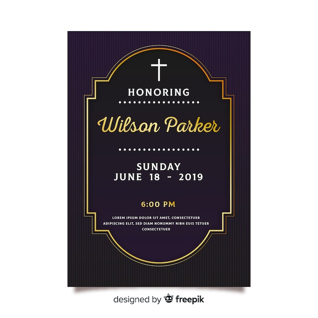 Modelo de cartão funeral detalhes dourado Vetor grátis
