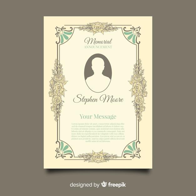 Modelo de cartão funeral vintage Vetor grátis