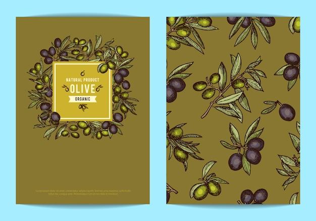 Modelo de cartão ou folheto com lugar para texto para empresa de petróleo com ramos de oliveira mão desenhada Vetor Premium