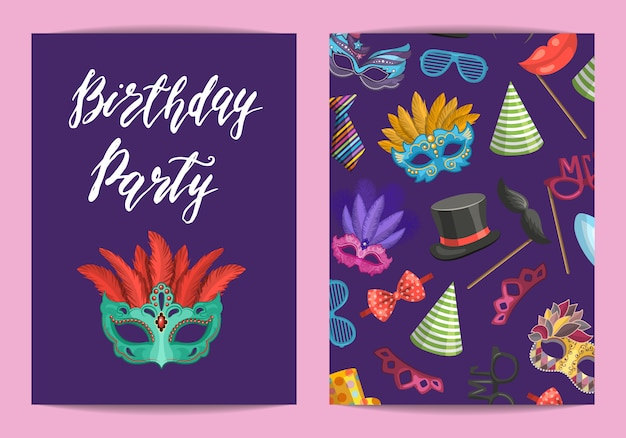 Modelo de cartão ou folheto com máscaras e acessórios para festa com lugar para ilustração de texto Vetor Premium