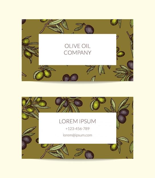Modelo de cartão para empresa de petróleo com ramos de oliveira mão desenhada Vetor Premium