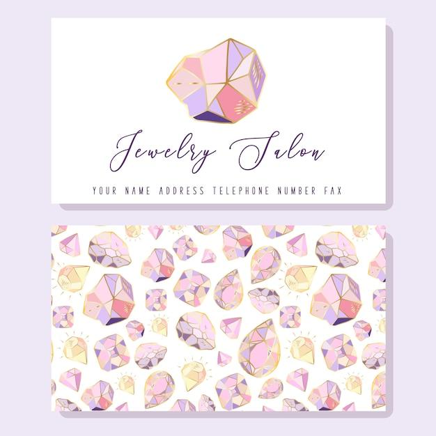 Modelo de cartão para joalherias - diamantes dourados, cristais ou pedras preciosas Vetor Premium