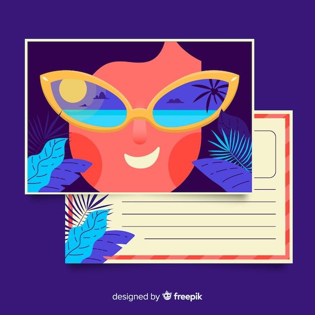 Modelo de cartão postal de férias de verão plana Vetor grátis