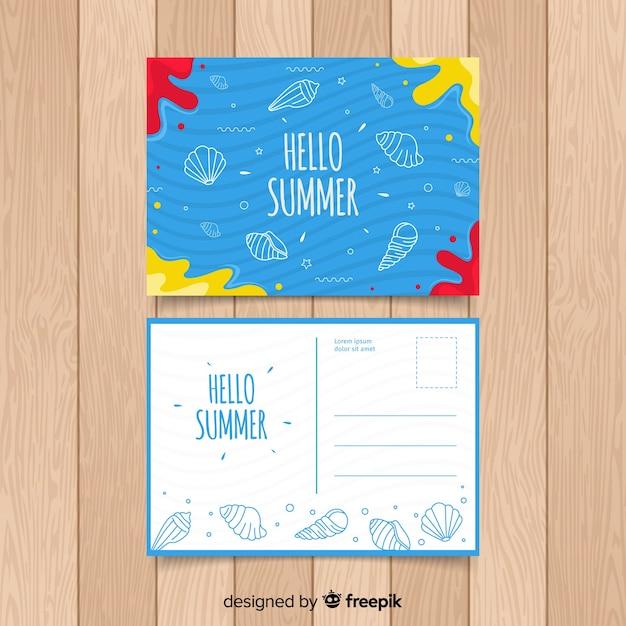 Modelo de cartão postal de férias de verão Vetor grátis