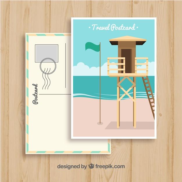 Modelo de cartão-postal de viagem de verão desenhada de mão Vetor grátis