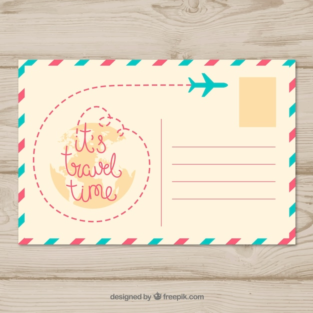 Modelo de cartão postal de viagem legal Vetor grátis