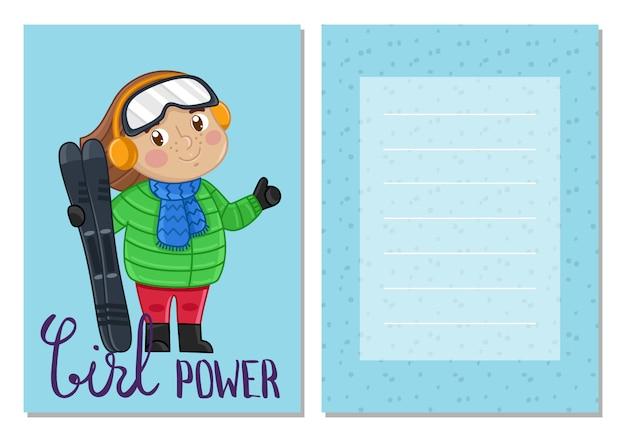 Modelo de cartão postal - girl power kids Vetor Premium