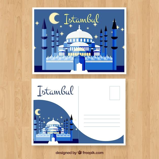 Modelo de cartão postal istambul com design plano Vetor grátis