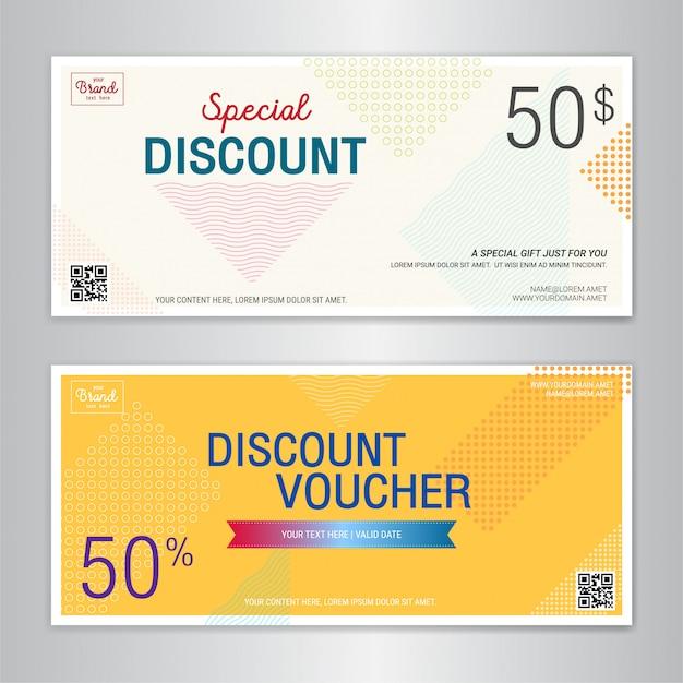 Modelo de cartão-presente ou cupom de dinheiro Vetor Premium
