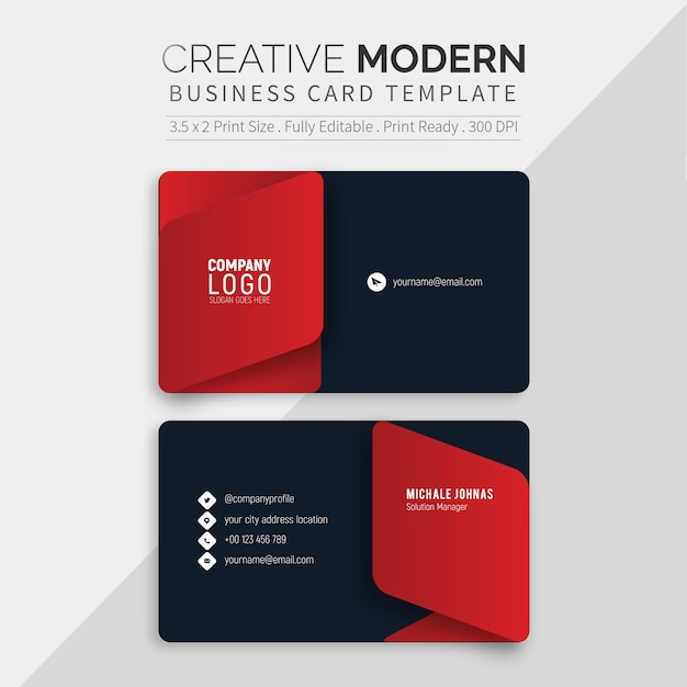 Modelo de cartão preto moderno Vetor Premium