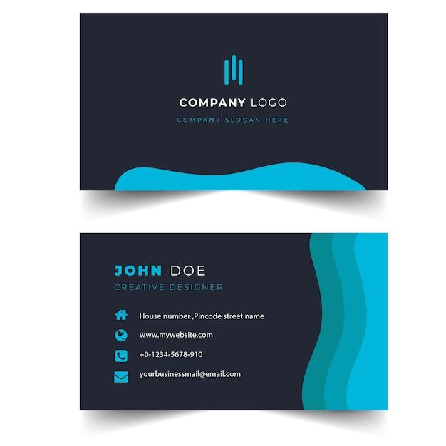 Modelo de cartão profissional preto elegante e moderno Vetor Premium