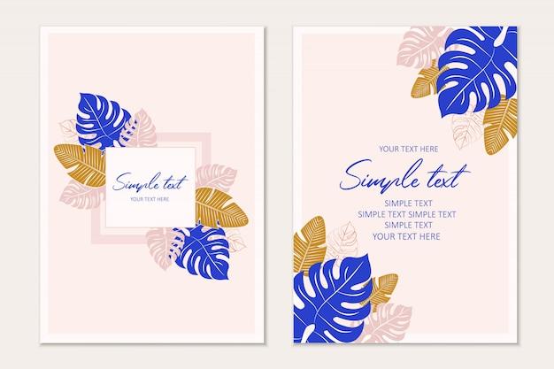 Modelo de cartão tropical fundo tropical Vetor Premium