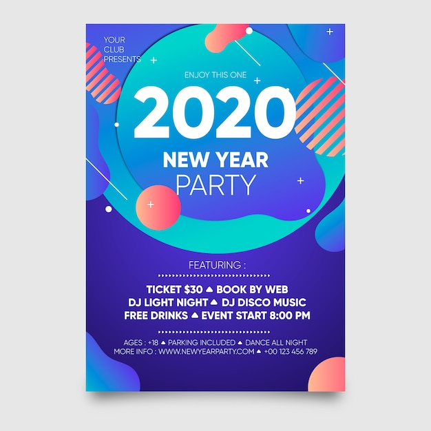 Modelo de cartaz abstrato festa ano novo 2020 Vetor grátis