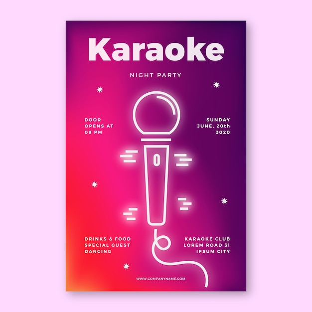 Modelo de cartaz abstrato karaoke Vetor grátis