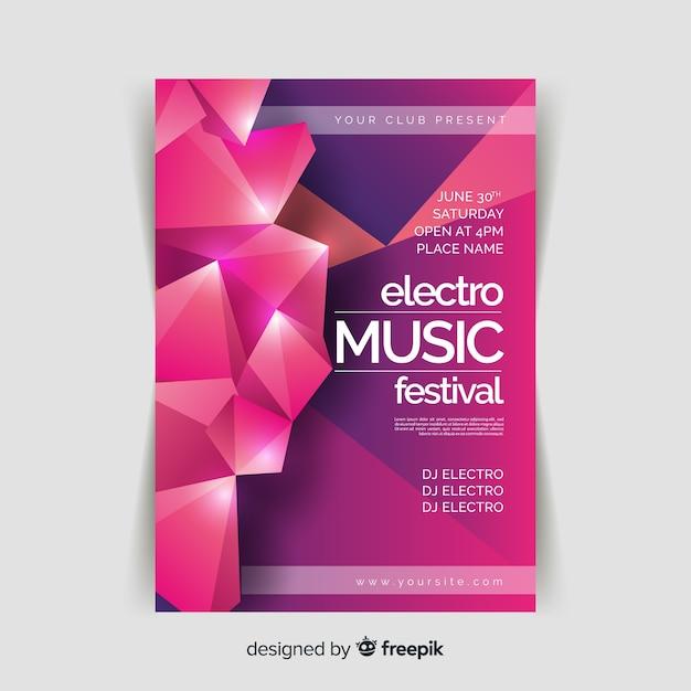 Modelo de cartaz abstrato música 3d Vetor grátis