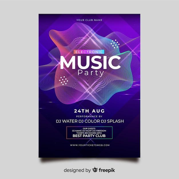 Modelo de cartaz abstrato música eletrônica Vetor grátis