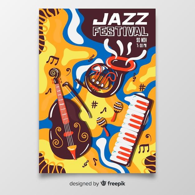 Modelo de cartaz abstrato música jazz Vetor grátis