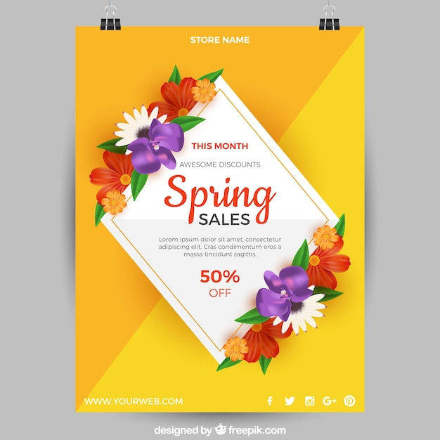 Modelo De Cartaz Amarelo Para Vendas De Primavera Baixar