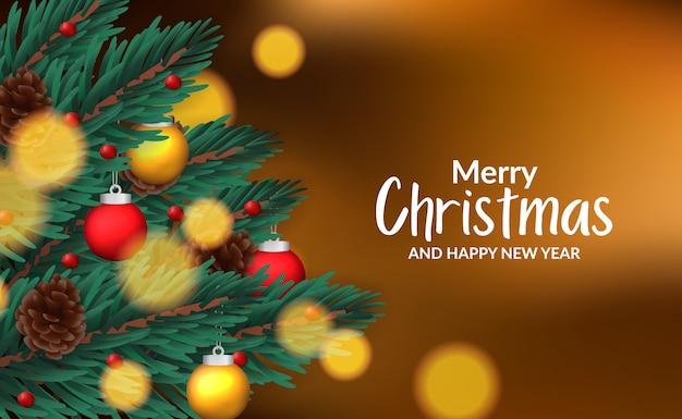 Modelo de cartaz banner de natal com ilustração de abeto deixa guirlanda com decoração Vetor Premium