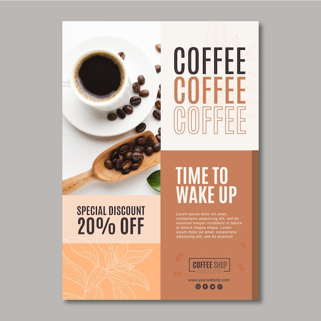Modelo de cartaz - café Vetor Premium