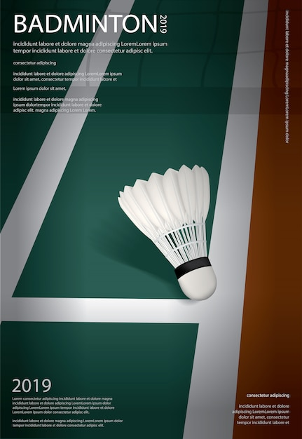 Modelo de cartaz - campeonato de badminton Vetor Premium
