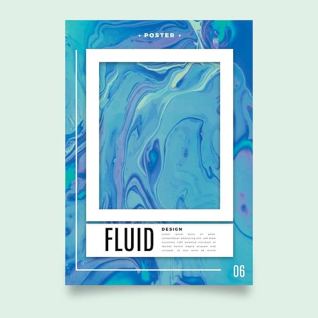Modelo de cartaz colorido de efeito fluido Vetor grátis