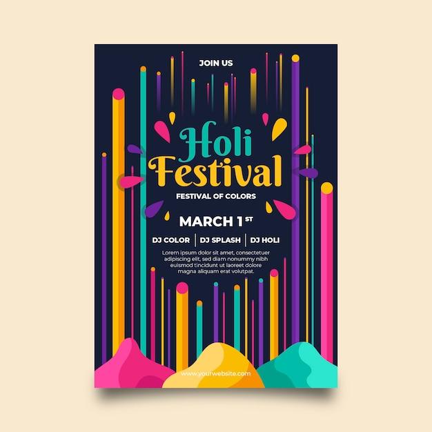 Modelo de cartaz colorido festival holi Vetor grátis