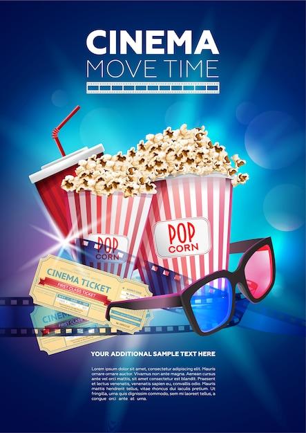 Modelo de cartaz colorido para tempo de cinema Vetor Premium