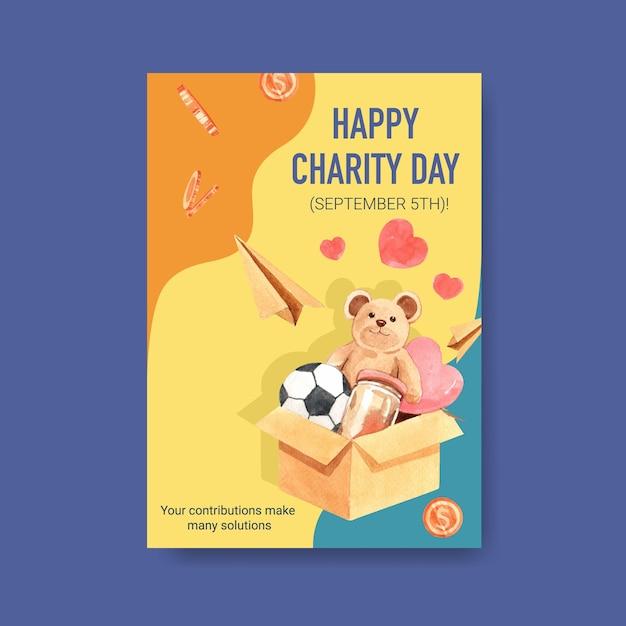 Modelo de cartaz com design de conceito de dia internacional da caridade para brochura e folheto em aquarela. Vetor grátis