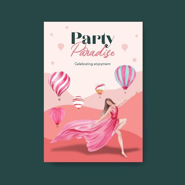 Modelo de cartaz com design de conceito de festa de balão para propaganda e ilustração em aquarela de brochura Vetor grátis