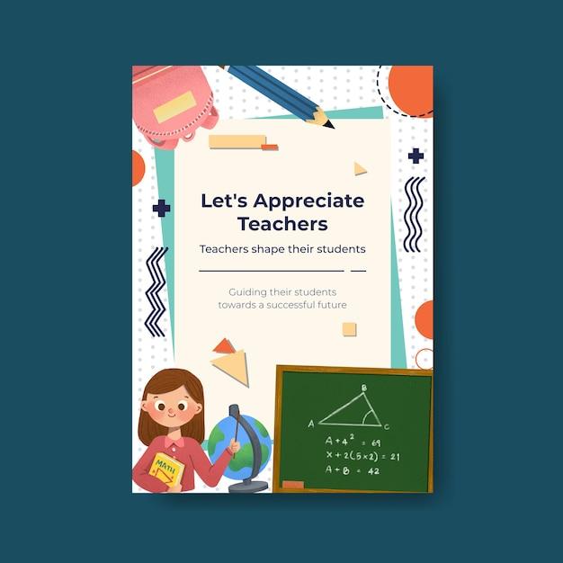 Modelo de cartaz com design de conceito do dia do professor para brochura e folheto Vetor grátis