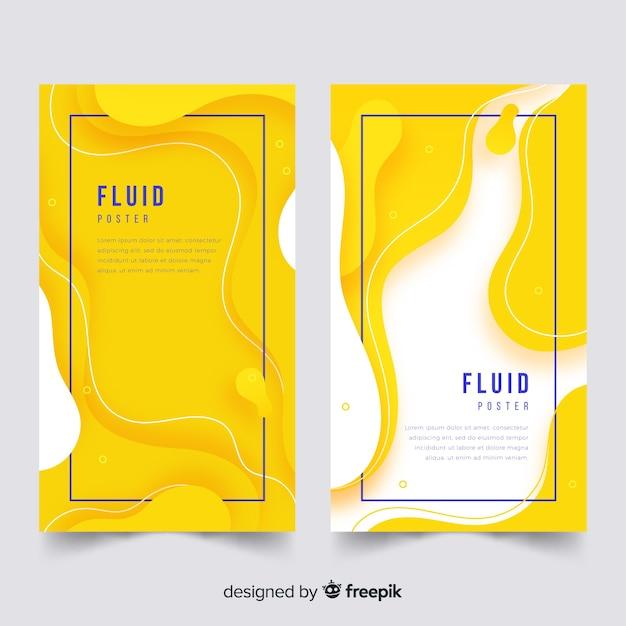 Modelo de cartaz com formas fluidas Vetor grátis