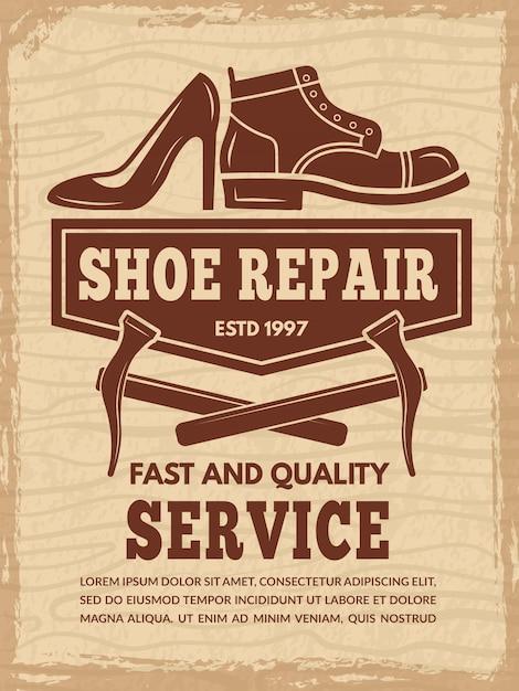 Modelo de cartaz com ilustrações de oficina de reparação de sapato Vetor Premium