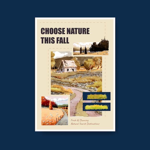 Modelo de cartaz com paisagem no outono design. outono Vetor grátis