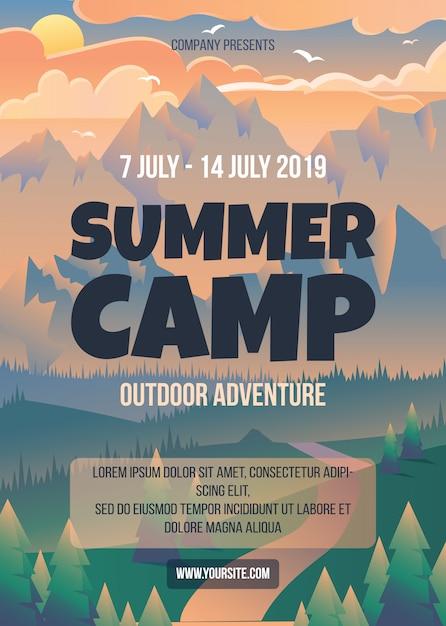 Modelo de cartaz de acampamento de verão Vetor Premium