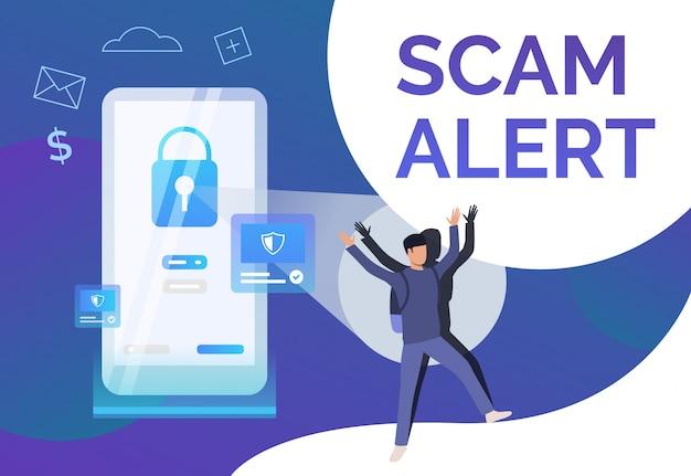 Modelo de cartaz de alerta de fraude Vetor grátis