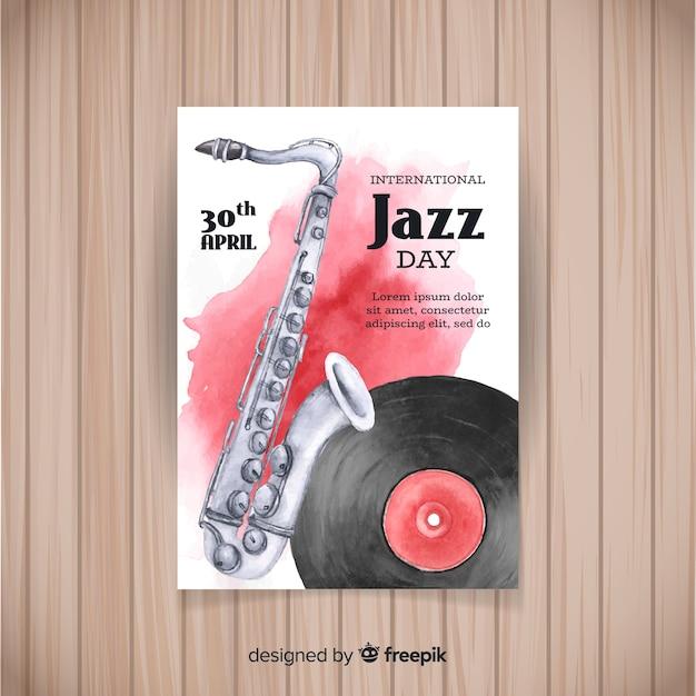 Modelo de cartaz de aquarela internacional jazz dia Vetor grátis