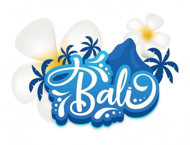 Modelo de cartaz de bali. ilha indonésia. flores e montanha. terra exótica. cultura asiática. banner, página de brochura, layout de folheto. adesivo com letras caligráficas e plumeria Vetor Premium