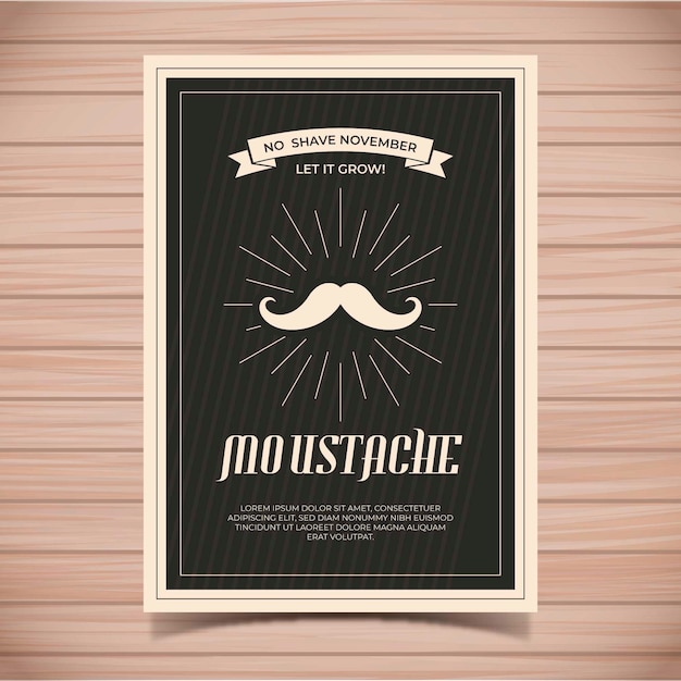 Modelo de cartaz de bigode movember Vetor grátis