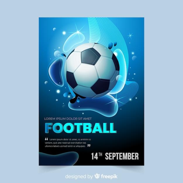 Modelo de cartaz de bola de futebol realista Vetor grátis