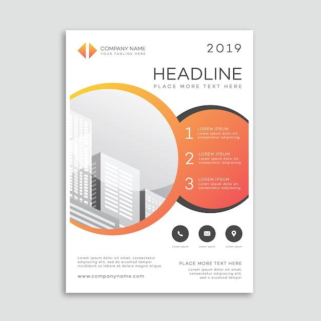 Modelo de cartaz de brochura corporativa com formas de círculo Vetor Premium