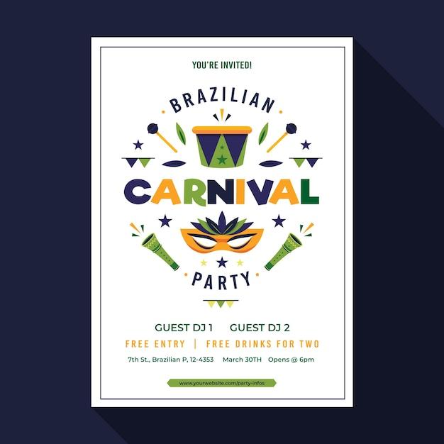 Modelo De Cartaz De Carnaval Brasileiro Colorido Vetor Gratis