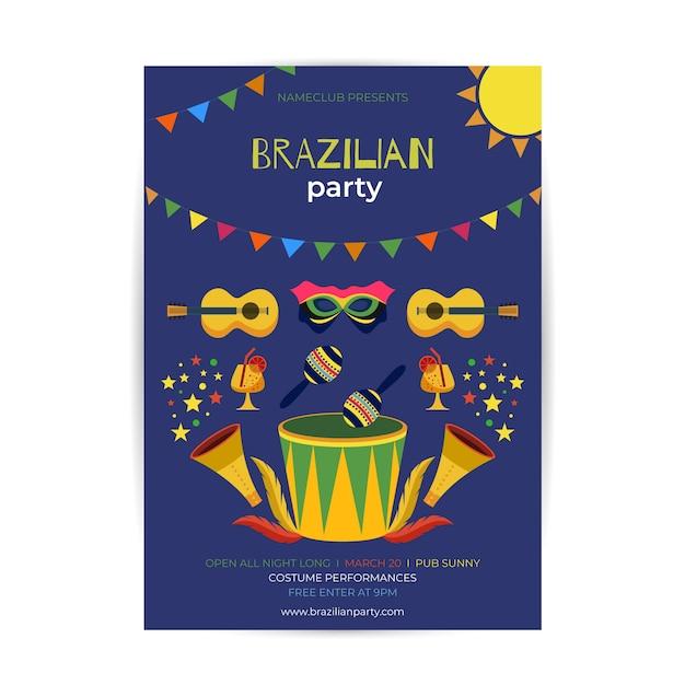 Modelo de cartaz de carnaval brasileiro plana Vetor grátis