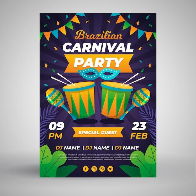 Modelo de cartaz de carnaval brasileiro Vetor grátis